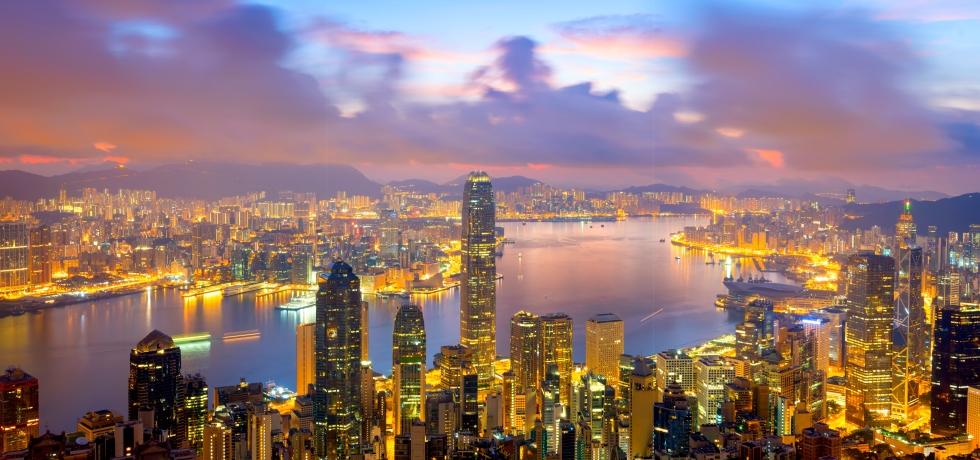 Hong Kong at night with lights on
